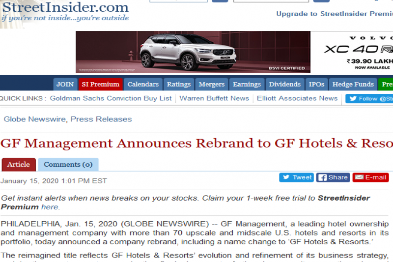 GF Management Announces Rebrand To GF Hotels & Resorts