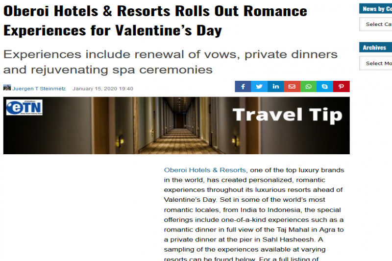 Oberoi Hotels & Resorts Rolls Out Romance Experiences For Valentine'S Day