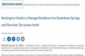 Remington Hotels To Manage Residence Inn Steamboat Springs And Sheraton Tarrytown Hotel