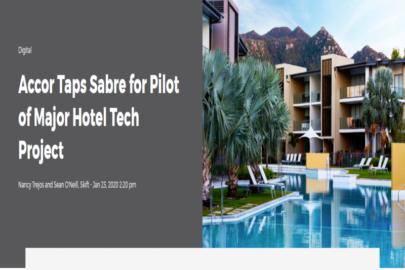 Accor Taps Sabre For Pilot Of Major Hotel Tech Project