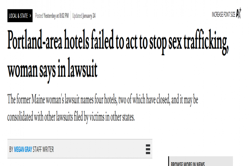 Portland-area hotels failed to act to stop sex trafficking, woman says in lawsuit