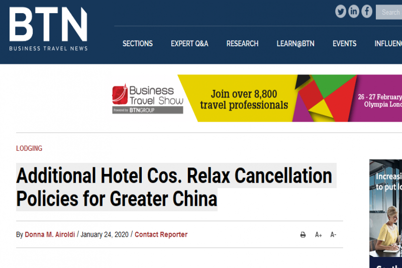 Additional Hotel Cos. Relax Cancellation Policies for Greater China: Business Travel News