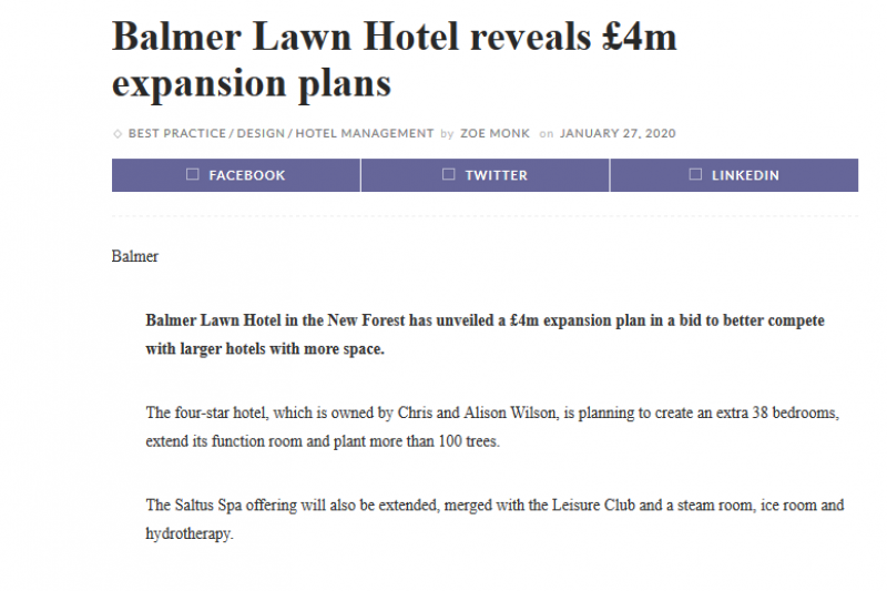 Balmer Lawn Hotel Reveals £4m Expansion Plans
