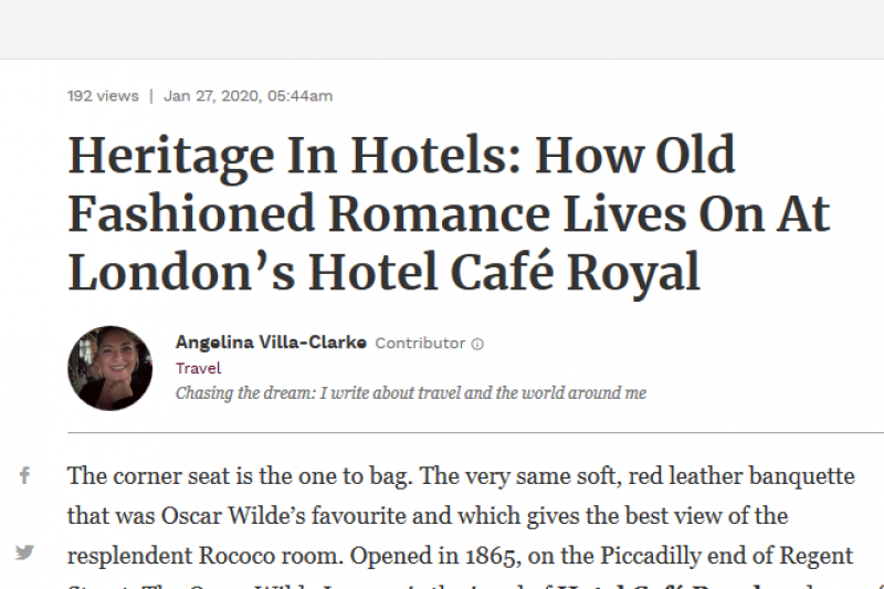 Heritage In Hotels: How Old Fashioned Romance Lives On At London'S Hotel CafÉ Royal