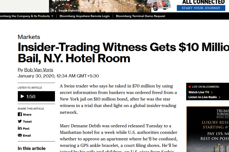 Insider-Trading Witness Gets $10 Million Bail, N.Y. Hotel Room