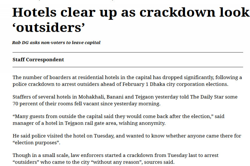 Hotels clear up as crackdown looks for 'outsiders'