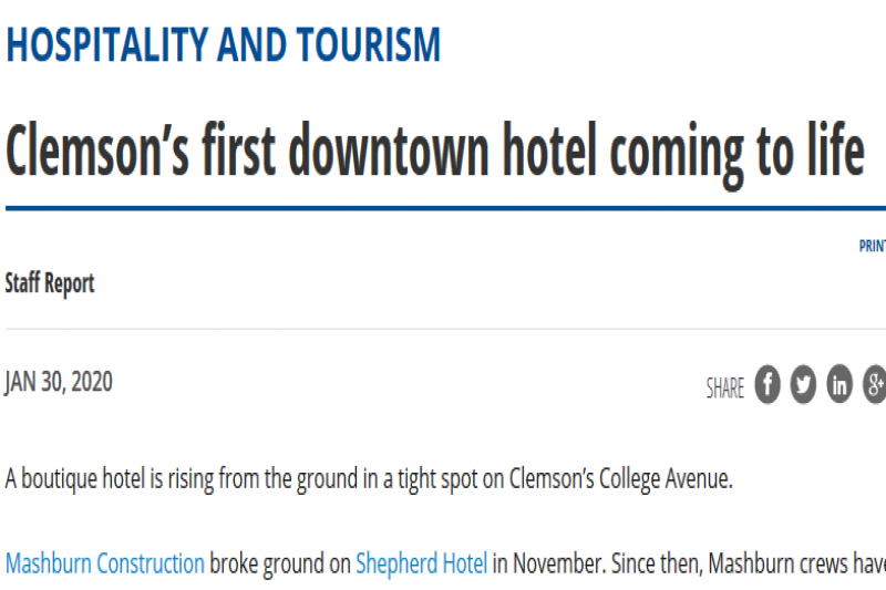 Clemson'S First Downtown Hotel Coming To Life