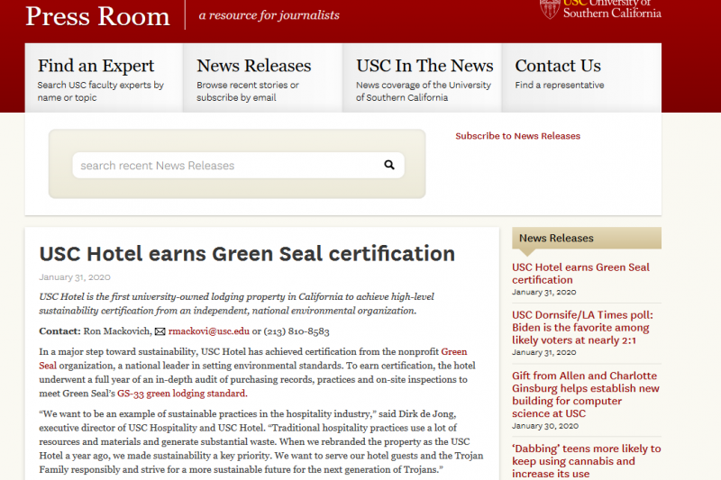 USC Hotel Earns Green Seal Certification