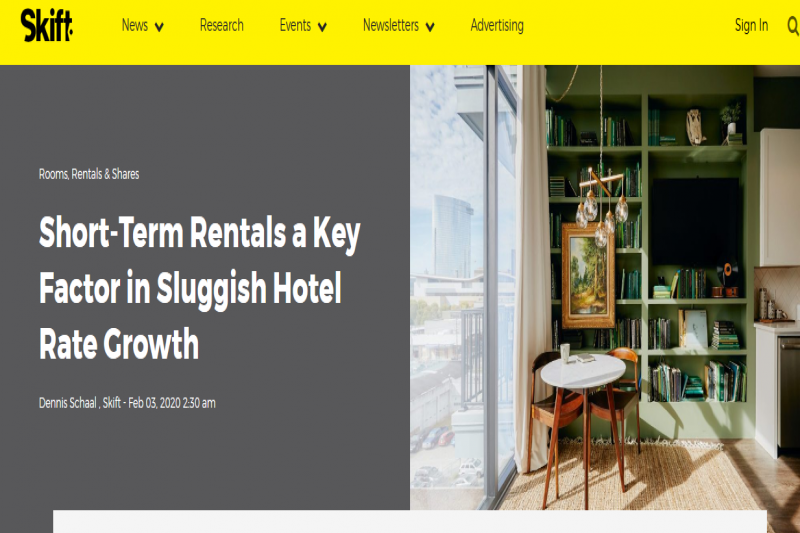 Short-Term Rentals A Key Factor In Sluggish Hotel Rate Growth