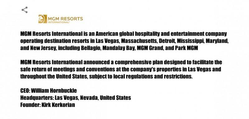 MGM Resorts International Announces Comprehensive Health and Safety Plan for Meetings and Conventions