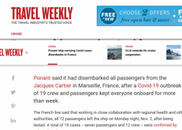 Ponant ship carrying Covid cases disembarks in France