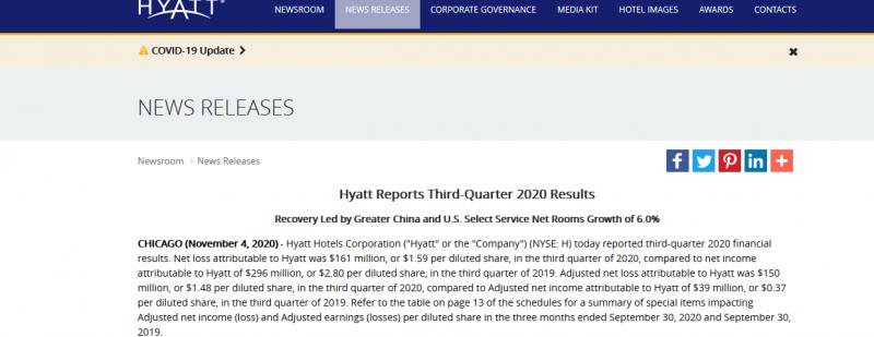 Hyatt Reports Third-Quarter 2020 Results
