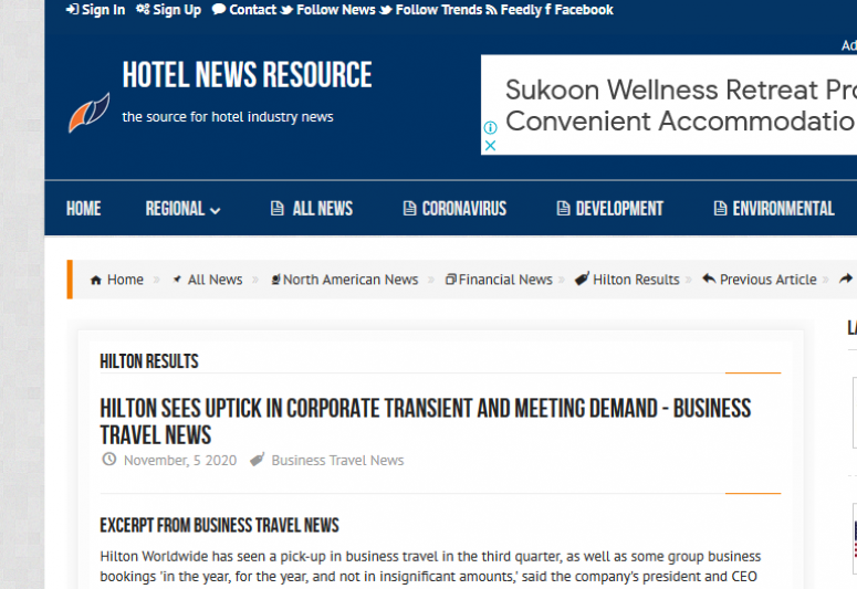Hilton Sees Uptick in Corporate Transient and Meeting Demand Business Travel News