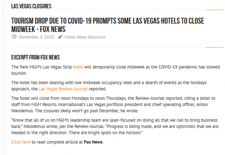 Tourism Drop Due to COVID-19 Prompts Some Las Vegas Hotels to Close Midweek Fox News