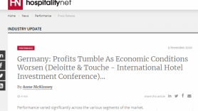 Germany:  Profits Tumble As Economic Conditions Worsen (Deloitte & Touche International Hotel Investment Conference)