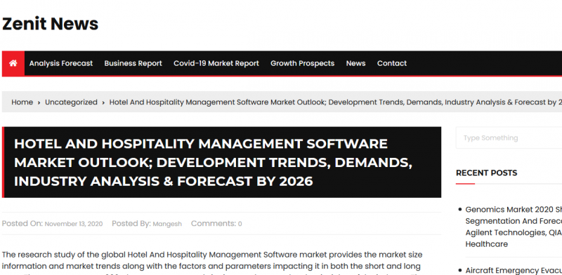 Hotel And Hospitality Management Software Market Outlook; Development Trends, Demands, Industry Analysis & Forecast by 2026