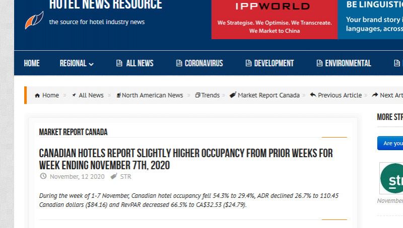 Canadian Hotels Report Slightly Higher Occupancy from Prior Weeks for Week Ending November 7th, 2020