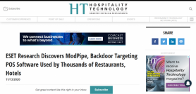 ESET Research Discovers ModPipe, Backdoor Targeting POS Software Used by Thousands of Restaurants, Hotels