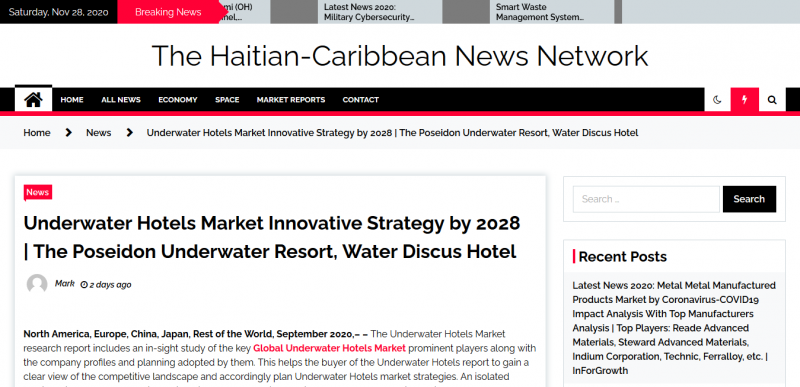 Underwater Hotels Market Innovative Strategy by 2028  The Poseidon Underwater Resort, Water Discus Hotel – The Haitian-Caribbean News Network