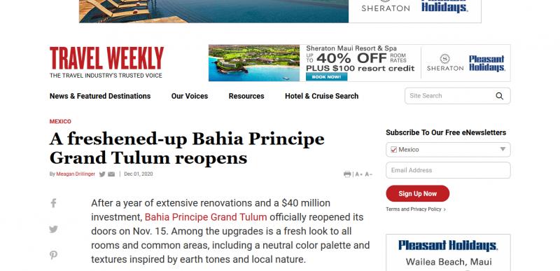 A freshened-up Bahia Principe Grand Tulum reopens