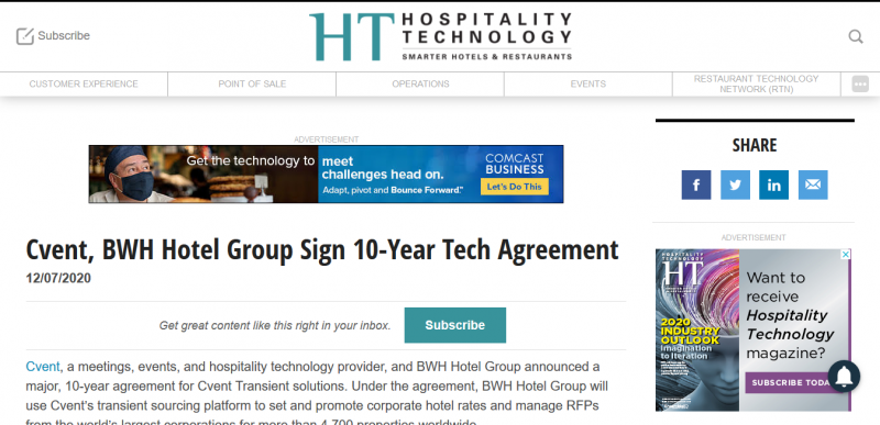 Cvent, BWH Hotel Group Sign 10-Year Tech Agreement