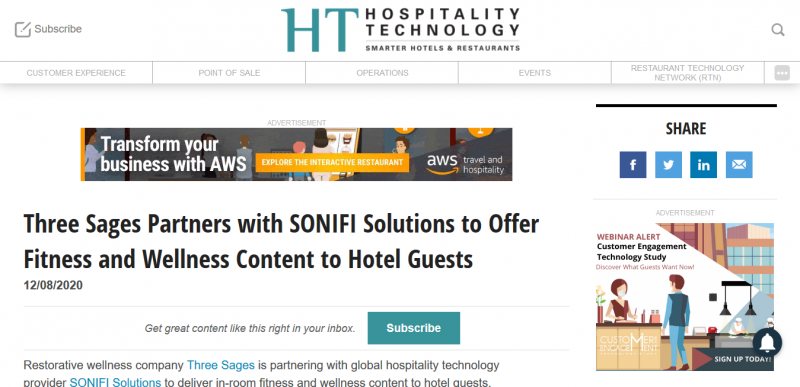 Three Sages Partners with SONIFI Solutions to Offer Fitness and Wellness Content to Hotel Guests
