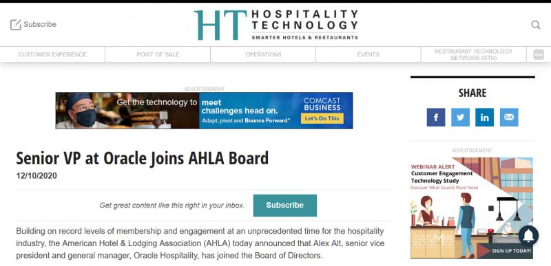 Senior VP at Oracle Joins AHLA Board