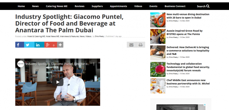 Industry Spotlight: Giacomo Puntel, Director of Food and Beverage at Anantara The Palm Dubai