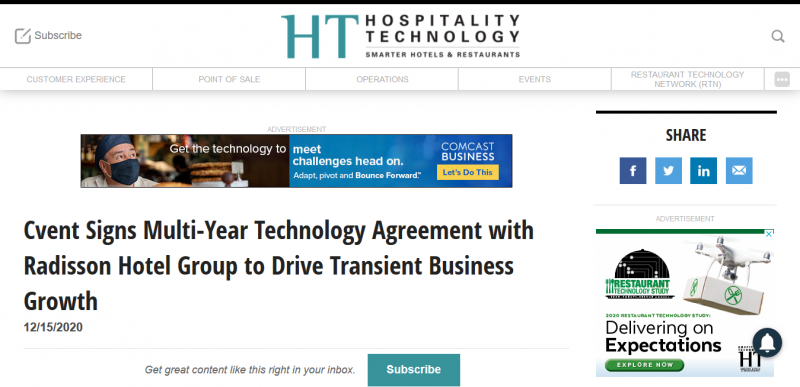 Cvent Signs Multi Year Technology Agreement with Radisson Hotel Group  to Drive Transient Business Growth
