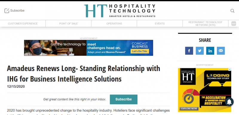 Amadeus Renews Long Standing Relationship with IHG for Business Intelligence Solutions