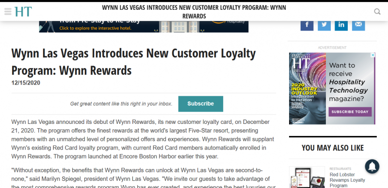 Wynn Las Vegas Introduces New Customer Loyalty Program: Wynn Rewards