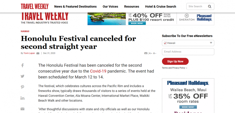 Honolulu Festival canceled for second straight year