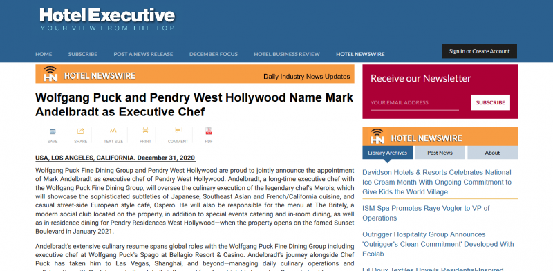 Wolfgang Puck and Pendry West Hollywood Name Mark Andelbradt as Executive Chef