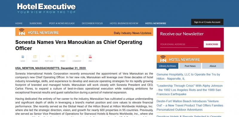Sonesta Names Vera Manoukian as Chief Operating Officer