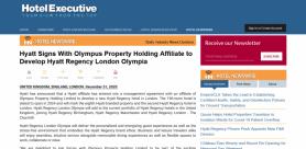 Hyatt Signs With Olympus Property Holding Affiliate to Develop Hyatt Regency London Olympia
