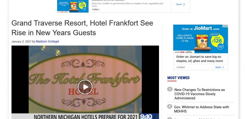 Grand Traverse Resort, Hotel Frankfort See Rise in New Years Guests