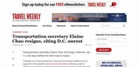 Transportation secretary Elaine Chao resigns, citing D.C. unrest