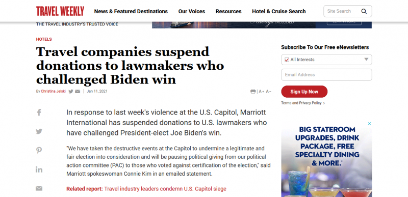 Travel companies suspend donations to lawmakers who challenged Biden win