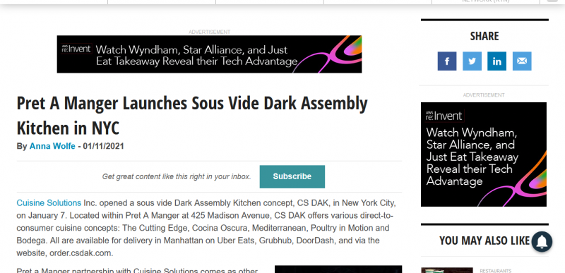 Pret A Manger Launches Sous Vide Dark Assembly Kitchen in NYC