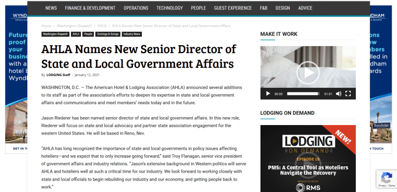 AHLA Names New Senior Director of State and Local Government Affairs