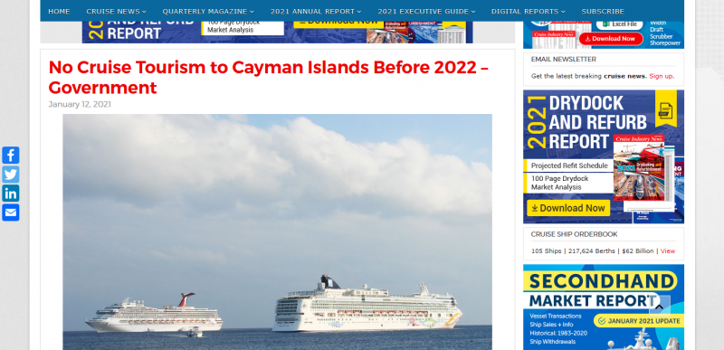 No Cruise Tourism to Cayman Islands Before 2022 – Government