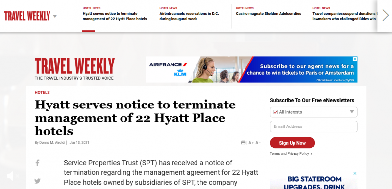 Hyatt serves notice to terminate management of 22 Hyatt Place hotels