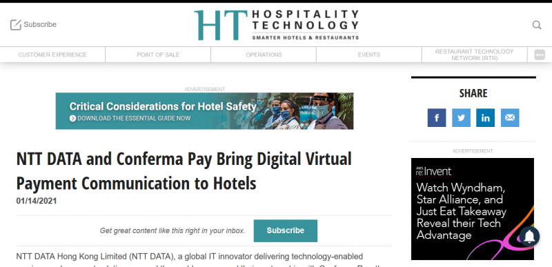 NTT DATA and Conferma Pay Bring Digital Virtual Payment Communication to Hotels