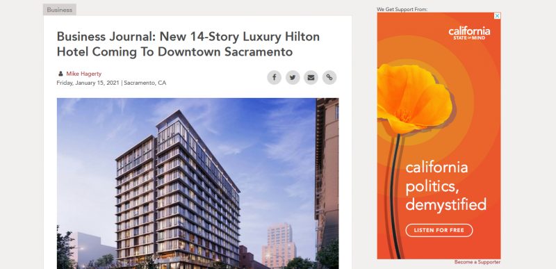 Business Journal: New 14-Story Luxury Hilton Hotel Coming To Downtown Sacramento