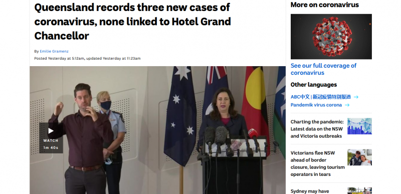 Queensland records three new cases of coronavirus, none linked to Hotel Grand Chancellor
