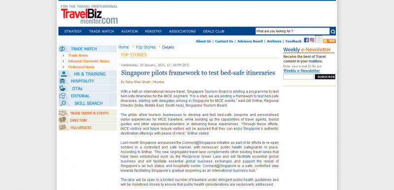 Singapore pilots framework to test bed-safe itineraries