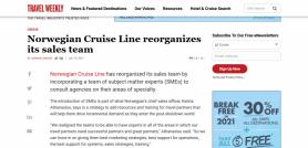 Norwegian Cruise Line reorganizes its sales team