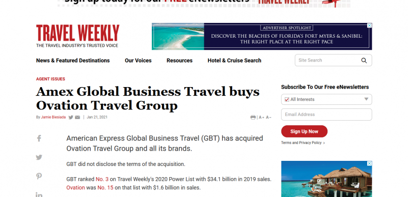 Amex Global Business Travel buys Ovation Travel Group