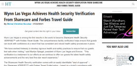 Wynn Las Vegas Achieves Health Security Verification From Sharecare and Forbes Travel Guide