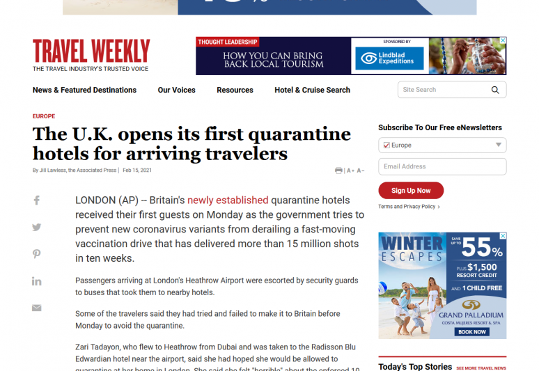 The U.K. opens its first quarantine hotels for arriving travelers